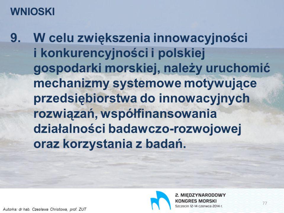 Autorka: dr hab. Czesława Christowa, prof. ZUT WNIOSKI 9.W celu zwiększenia innowacyjności i konkurencyjności i polskiej gospodarki morskiej, należy u