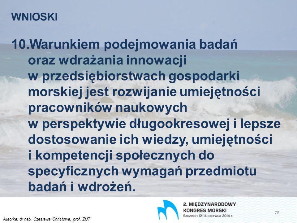 Autorka: dr hab. Czesława Christowa, prof. ZUT WNIOSKI 10.Warunkiem podejmowania badań oraz wdrażania innowacji w przedsiębiorstwach gospodarki morski