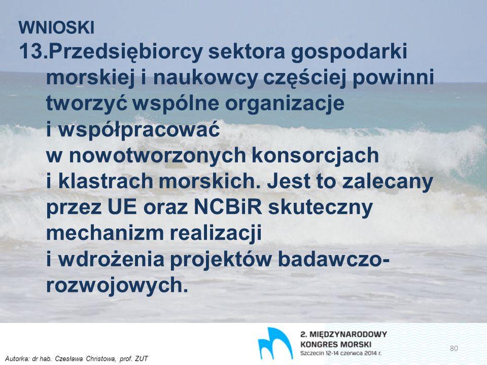 Autorka: dr hab. Czesława Christowa, prof. ZUT WNIOSKI 13.Przedsiębiorcy sektora gospodarki morskiej i naukowcy częściej powinni tworzyć wspólne organ