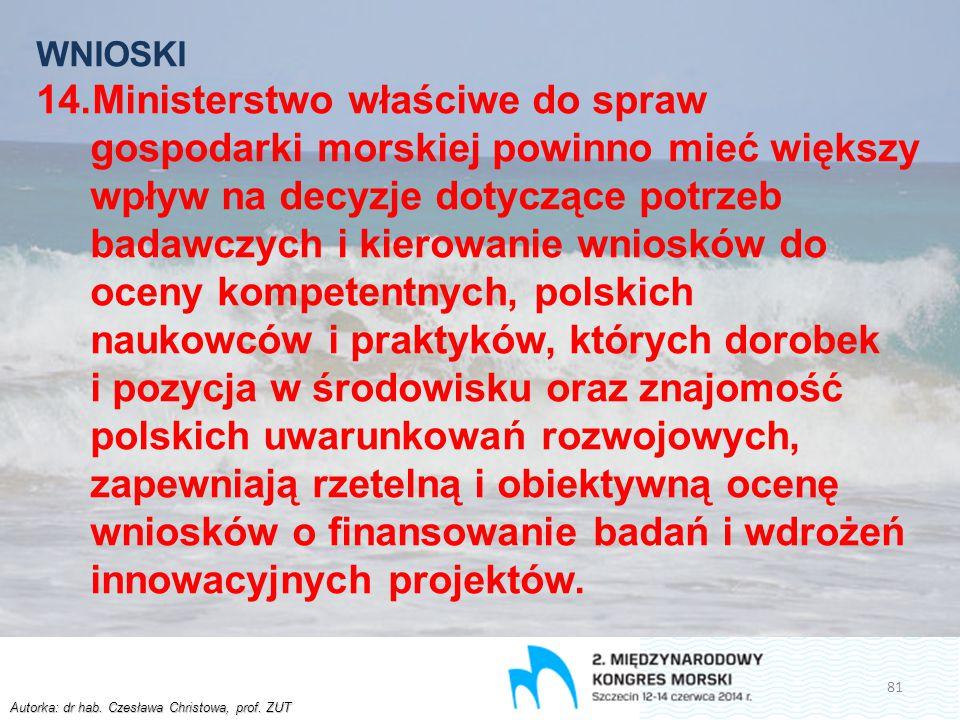 Autorka: dr hab. Czesława Christowa, prof. ZUT WNIOSKI 14.Ministerstwo właściwe do spraw gospodarki morskiej powinno mieć większy wpływ na decyzje dot