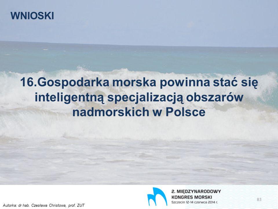 Autorka: dr hab. Czesława Christowa, prof. ZUT WNIOSKI 16.Gospodarka morska powinna stać się inteligentną specjalizacją obszarów nadmorskich w Polsce