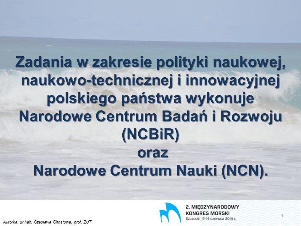 Autorka: dr hab. Czesława Christowa, prof. ZUT Zadania w zakresie polityki naukowej, naukowo-technicznej i innowacyjnej polskiego państwa wykonuje Nar