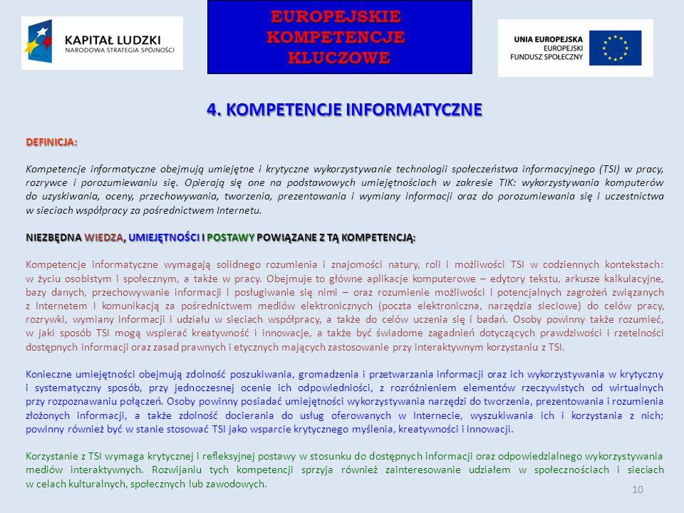 EUROPEJSKIEKOMPETENCJEKLUCZOWEEUROPEJSKIEKOMPETENCJEKLUCZOWE 4. KOMPETENCJE INFORMATYCZNE DEFINICJA: Kompetencje informatyczne obejmują umiejętne i kr
