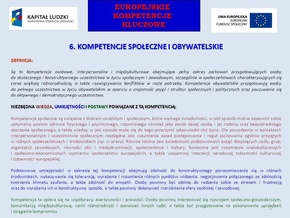 EUROPEJSKIEKOMPETENCJEKLUCZOWEEUROPEJSKIEKOMPETENCJEKLUCZOWE 6. KOMPETENCJE SPOŁECZNE I OBYWATELSKIE DEFINICJA: Są to kompetencje osobowe, interperson