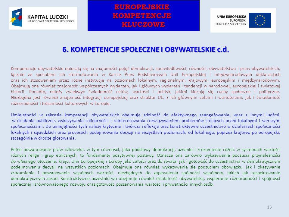 EUROPEJSKIEKOMPETENCJEKLUCZOWEEUROPEJSKIEKOMPETENCJEKLUCZOWE 6. KOMPETENCJE SPOŁECZNE I OBYWATELSKIE c.d. Kompetencje obywatelskie opierają się na zna