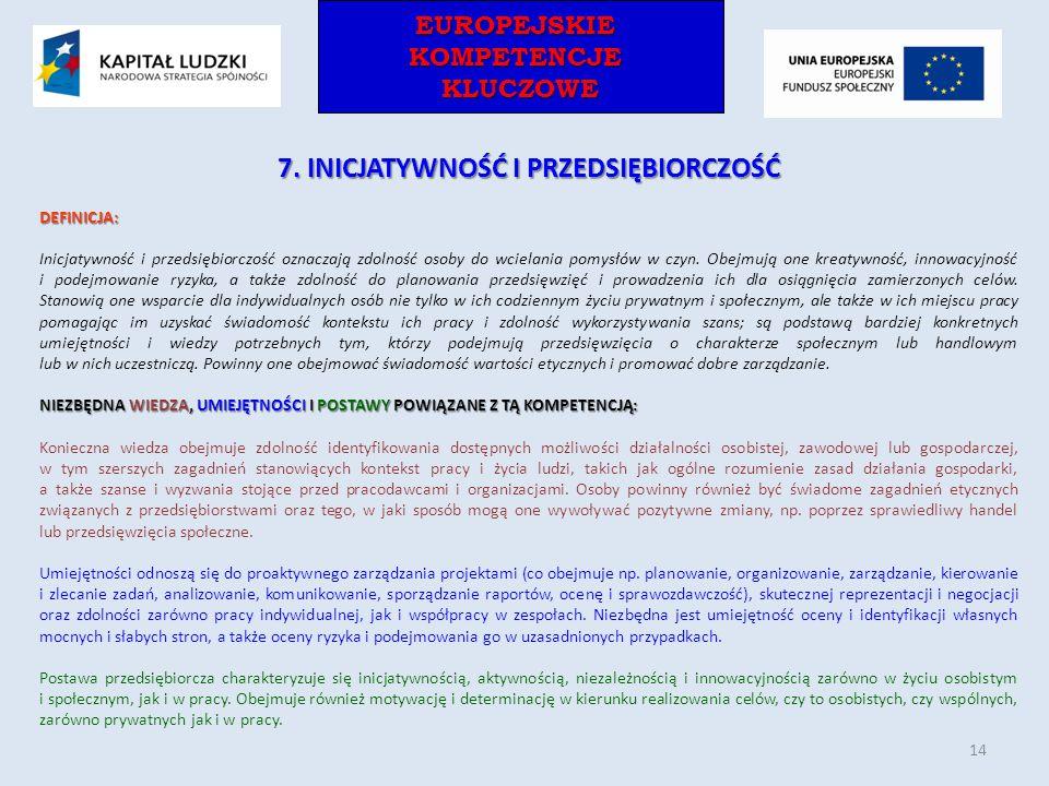 EUROPEJSKIEKOMPETENCJEKLUCZOWEEUROPEJSKIEKOMPETENCJEKLUCZOWE 7. INICJATYWNOŚĆ I PRZEDSIĘBIORCZOŚĆ DEFINICJA: Inicjatywność i przedsiębiorczość oznacza