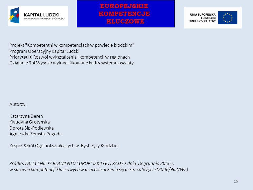 EUROPEJSKIEKOMPETENCJEKLUCZOWEEUROPEJSKIEKOMPETENCJEKLUCZOWE Projekt