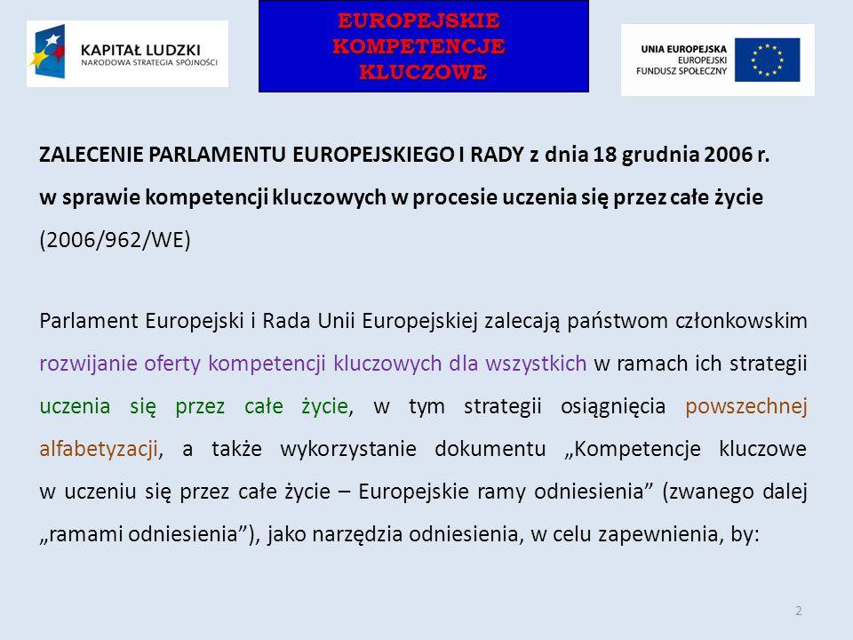 EUROPEJSKIEKOMPETENCJEKLUCZOWEEUROPEJSKIEKOMPETENCJEKLUCZOWE ZALECENIE PARLAMENTU EUROPEJSKIEGO I RADY z dnia 18 grudnia 2006 r. w sprawie kompetencji