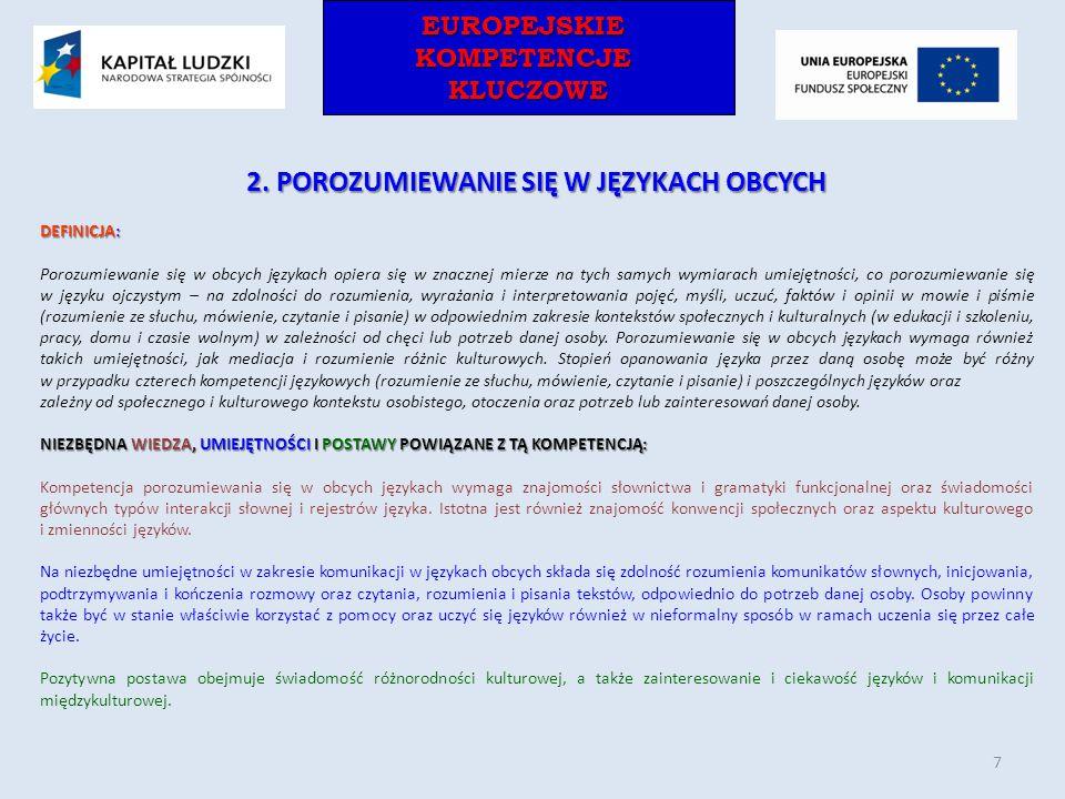 EUROPEJSKIEKOMPETENCJEKLUCZOWEEUROPEJSKIEKOMPETENCJEKLUCZOWE 2. POROZUMIEWANIE SIĘ W JĘZYKACH OBCYCH DEFINICJA: Porozumiewanie się w obcych językach o