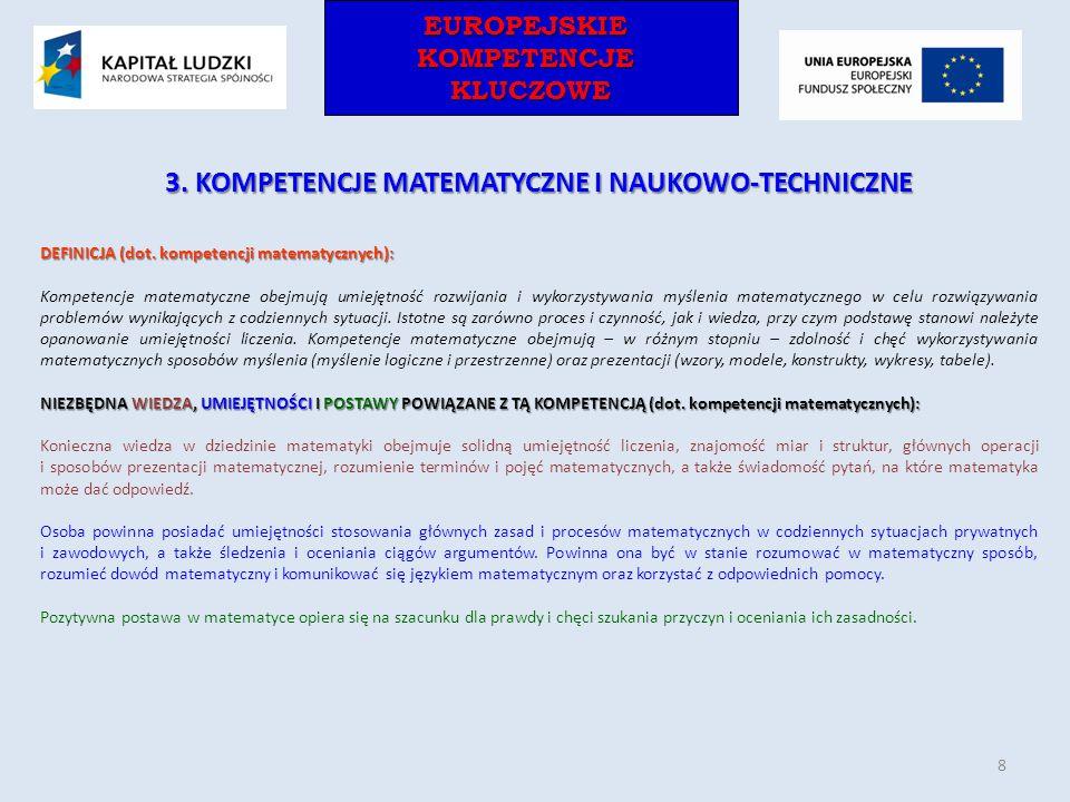 EUROPEJSKIEKOMPETENCJEKLUCZOWEEUROPEJSKIEKOMPETENCJEKLUCZOWE 3. KOMPETENCJE MATEMATYCZNE I NAUKOWO-TECHNICZNE DEFINICJA (dot. kompetencji matematyczny