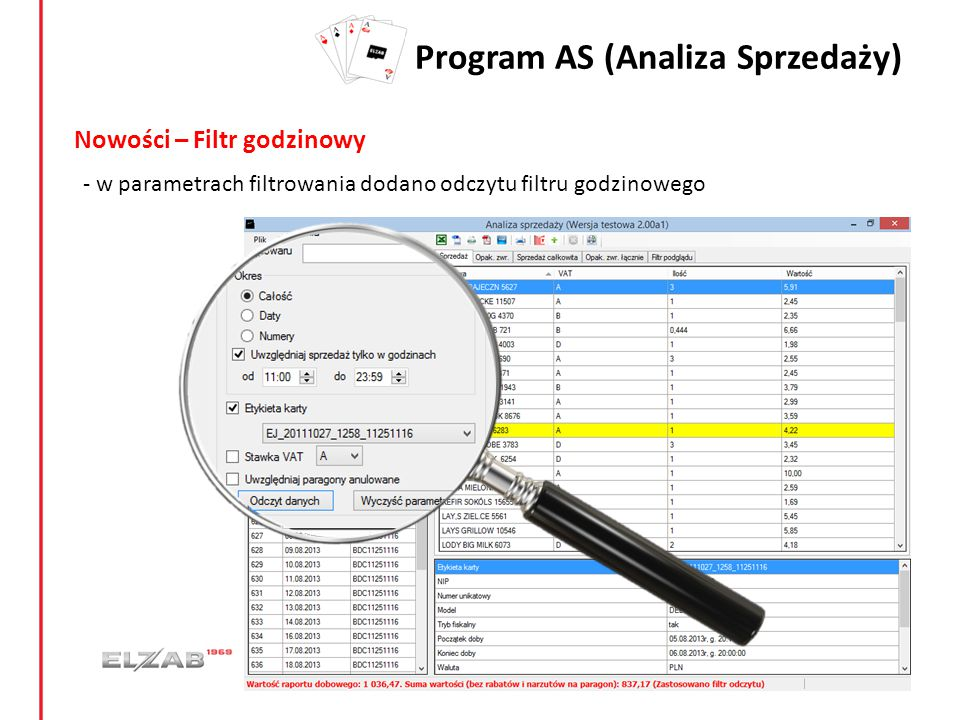 Program AS (Analiza Sprzedaży) Nowości – Filtr godzinowy - w parametrach filtrowania dodano odczytu filtru godzinowego