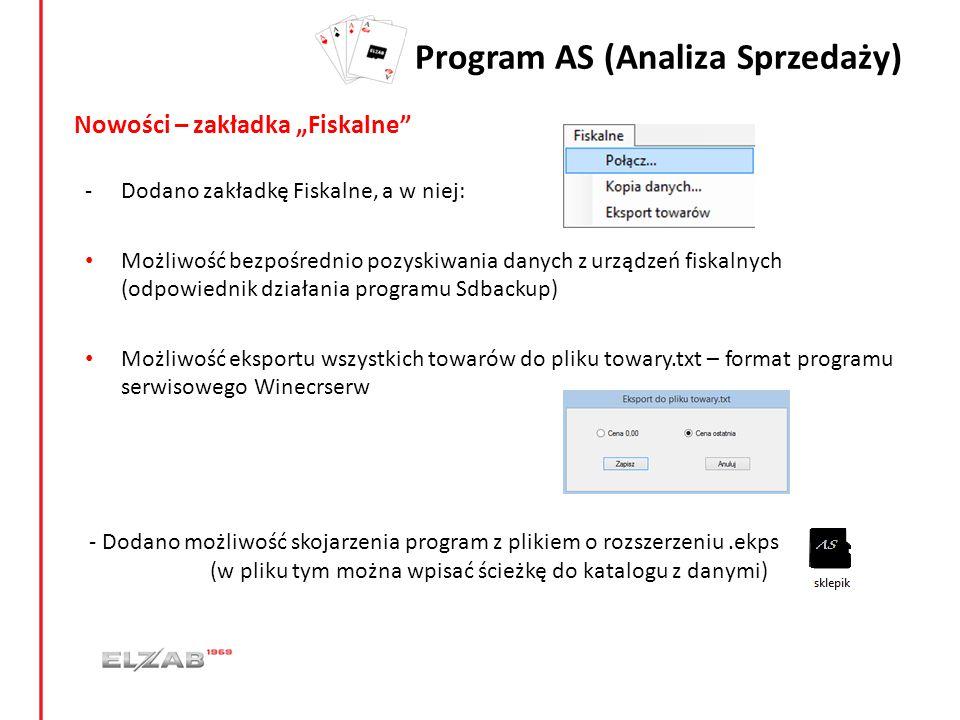 """Program AS (Analiza Sprzedaży) Nowości – zakładka """"Fiskalne"""" -Dodano zakładkę Fiskalne, a w niej: Możliwość bezpośrednio pozyskiwania danych z urządze"""