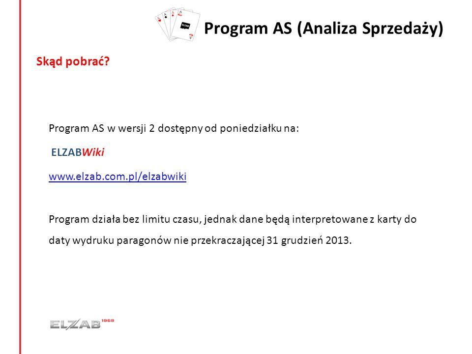 Program AS (Analiza Sprzedaży) Skąd pobrać? Program AS w wersji 2 dostępny od poniedziałku na: ELZABWiki www.elzab.com.pl/elzabwiki www.elzab.com.pl/e