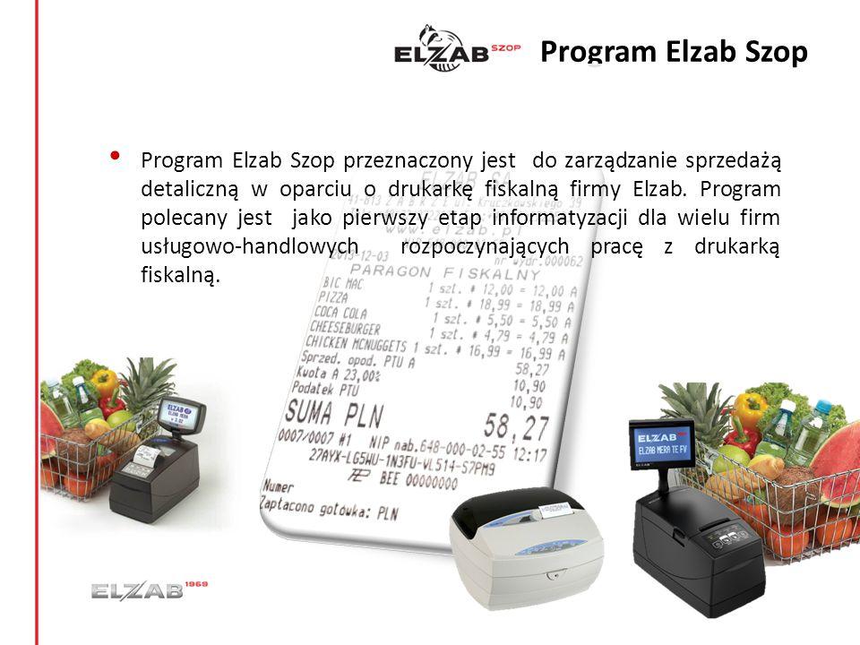 Program Elzab Szop Program Elzab Szop przeznaczony jest do zarządzanie sprzedażą detaliczną w oparciu o drukarkę fiskalną firmy Elzab. Program polecan