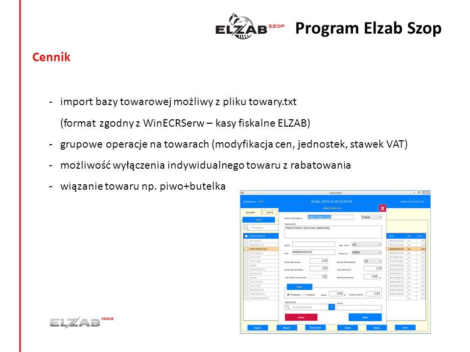 Cennik - import bazy towarowej możliwy z pliku towary.txt (format zgodny z WinECRSerw – kasy fiskalne ELZAB) - grupowe operacje na towarach (modyfikac