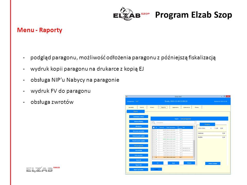 Menu - Raporty - podgląd paragonu, możliwość odłożenia paragonu z późniejszą fiskalizacją - wydruk kopii paragonu na drukarce z kopią EJ -obsługa NIP'