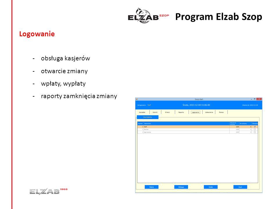 Logowanie - obsługa kasjerów - otwarcie zmiany - wpłaty, wypłaty - raporty zamknięcia zmiany Program Elzab Szop