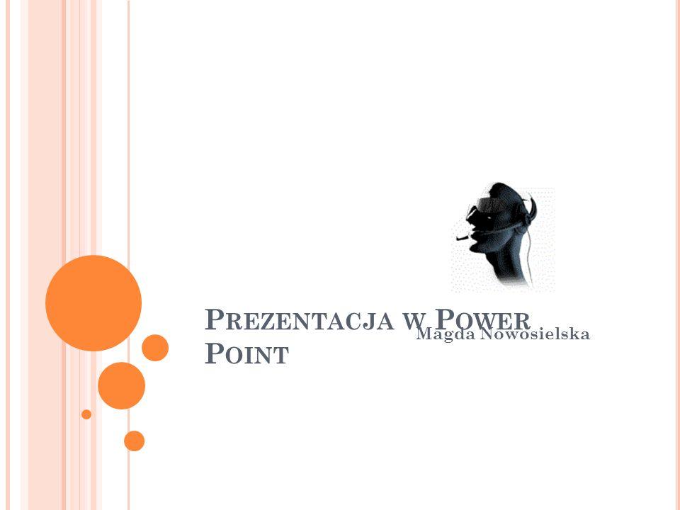 P REZENTACJA W P OWER P OINT Magda Nowosielska