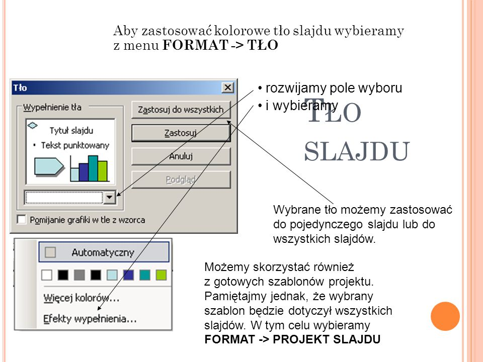 T ŁO SLAJDU Aby zastosować kolorowe tło slajdu wybieramy z menu FORMAT -> TŁO rozwijamy pole wyboru i wybieramy Wybrane tło możemy zastosować do pojed