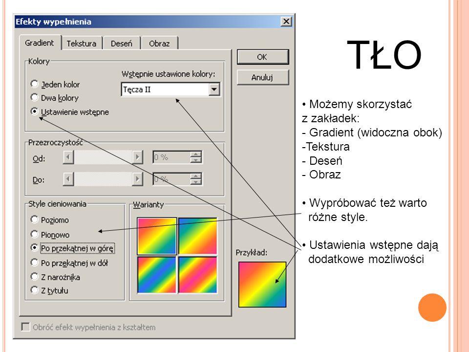 TŁO Możemy skorzystać z zakładek: - Gradient (widoczna obok) -Tekstura - Deseń - Obraz Wypróbować też warto różne style. Ustawienia wstępne dają dodat
