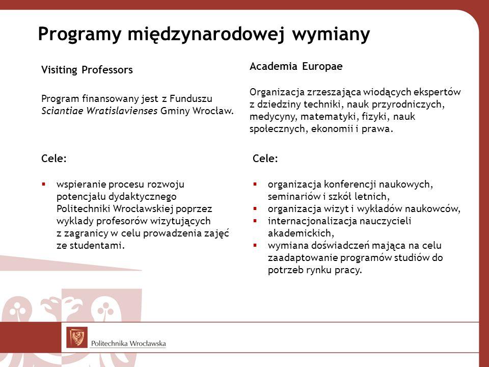 Programy międzynarodowej wymiany Visiting Professors Program finansowany jest z Funduszu Sciantiae Wratislavienses Gminy Wrocław. Academia Europae Org