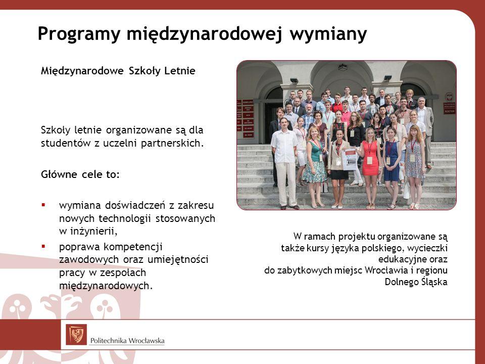 Programy międzynarodowej wymiany Międzynarodowe Szkoły Letnie Szkoły letnie organizowane są dla studentów z uczelni partnerskich. Główne cele to:  wy