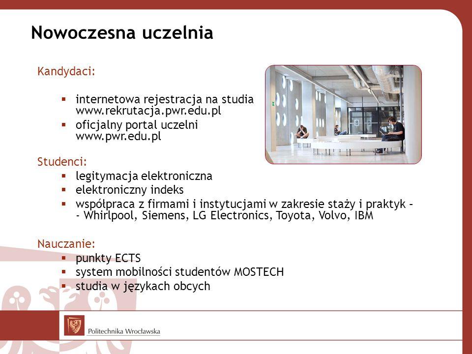 Nowoczesna uczelnia Kandydaci:  internetowa rejestracja na studia www.rekrutacja.pwr.edu.pl  oficjalny portal uczelni www.pwr.edu.pl Studenci:  legitymacja elektroniczna  elektroniczny indeks  współpraca z firmami i instytucjami w zakresie staży i praktyk – - Whirlpool, Siemens, LG Electronics, Toyota, Volvo, IBM Nauczanie:  punkty ECTS  system mobilności studentów MOSTECH  studia w językach obcych