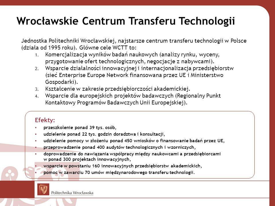 Wrocławskie Centrum Transferu Technologii Jednostka Politechniki Wrocławskiej, najstarsze centrum transferu technologii w Polsce (działa od 1995 roku).