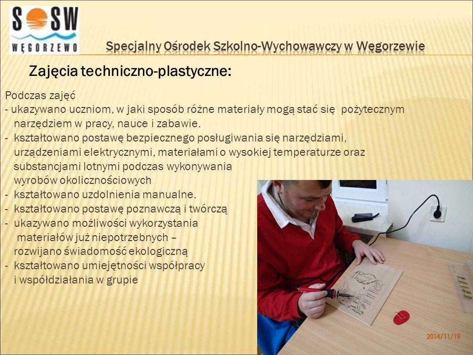 Zajęcia techniczno-plastyczne: Podczas zajęć - ukazywano uczniom, w jaki sposób różne materiały mogą stać się pożytecznym narzędziem w pracy, nauce i