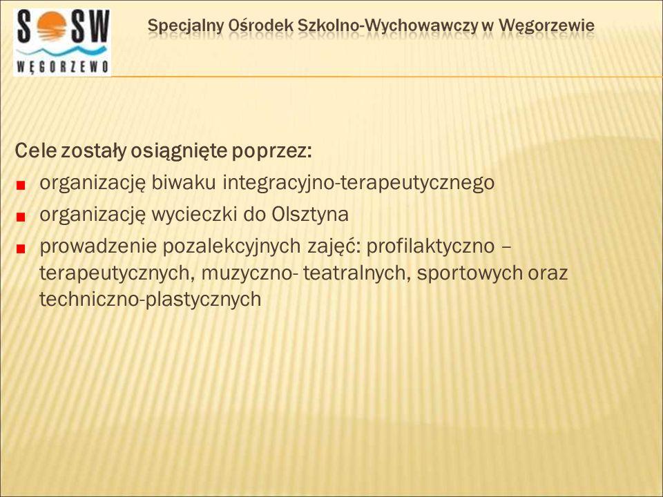 Cele zostały osiągnięte poprzez: organizację biwaku integracyjno-terapeutycznego organizację wycieczki do Olsztyna prowadzenie pozalekcyjnych zajęć: p