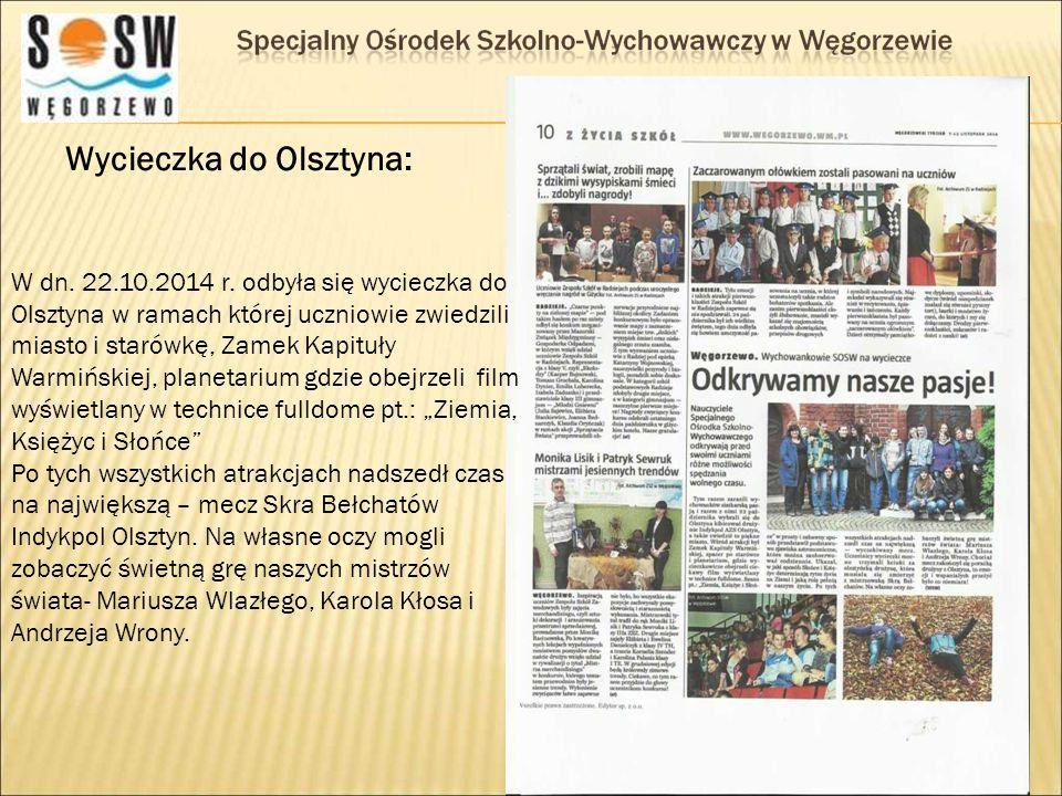 Wycieczka do Olsztyna: W dn. 22.10.2014 r. odbyła się wycieczka do Olsztyna w ramach której uczniowie zwiedzili miasto i starówkę, Zamek Kapituły Warm