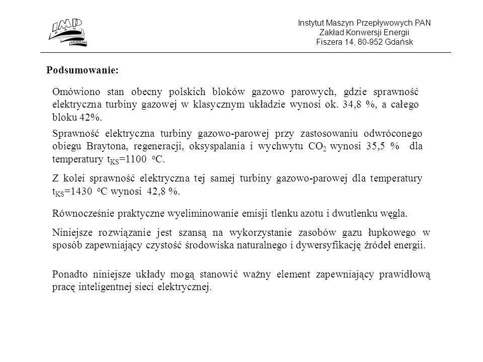 Instytut Maszyn Przepływowych PAN Zakład Konwersji Energii Fiszera 14, 80-952 Gdańsk Podsumowanie: Omówiono stan obecny polskich bloków gazowo parowych, gdzie sprawność elektryczna turbiny gazowej w klasycznym układzie wynosi ok.
