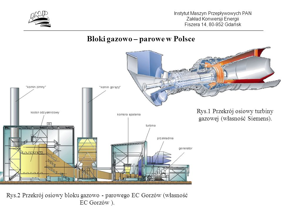 Instytut Maszyn Przepływowych PAN Zakład Konwersji Energii Fiszera 14, 80-952 Gdańsk Bloki gazowo – parowe w Polsce Rys.1 Przekrój osiowy turbiny gazowej (własność Siemens).