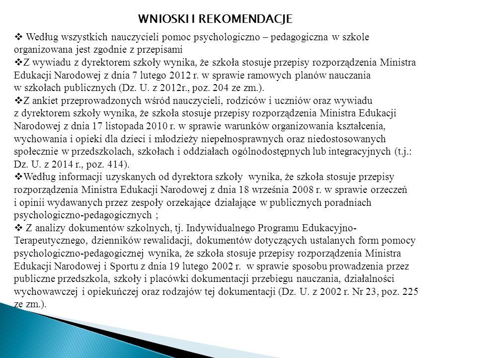  Według wszystkich nauczycieli pomoc psychologiczno – pedagogiczna w szkole organizowana jest zgodnie z przepisami  Z wywiadu z dyrektorem szkoły wynika, że szkoła stosuje przepisy rozporządzenia Ministra Edukacji Narodowej z dnia 7 lutego 2012 r.