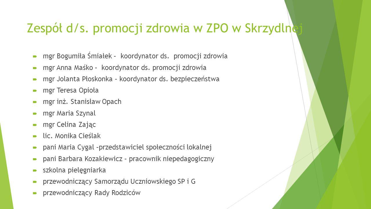 Zespół d/s. promocji zdrowia w ZPO w Skrzydlnej  mgr Bogumiła Śmiałek – koordynator ds. promocji zdrowia  mgr Anna Maśko – koordynator ds. promocji
