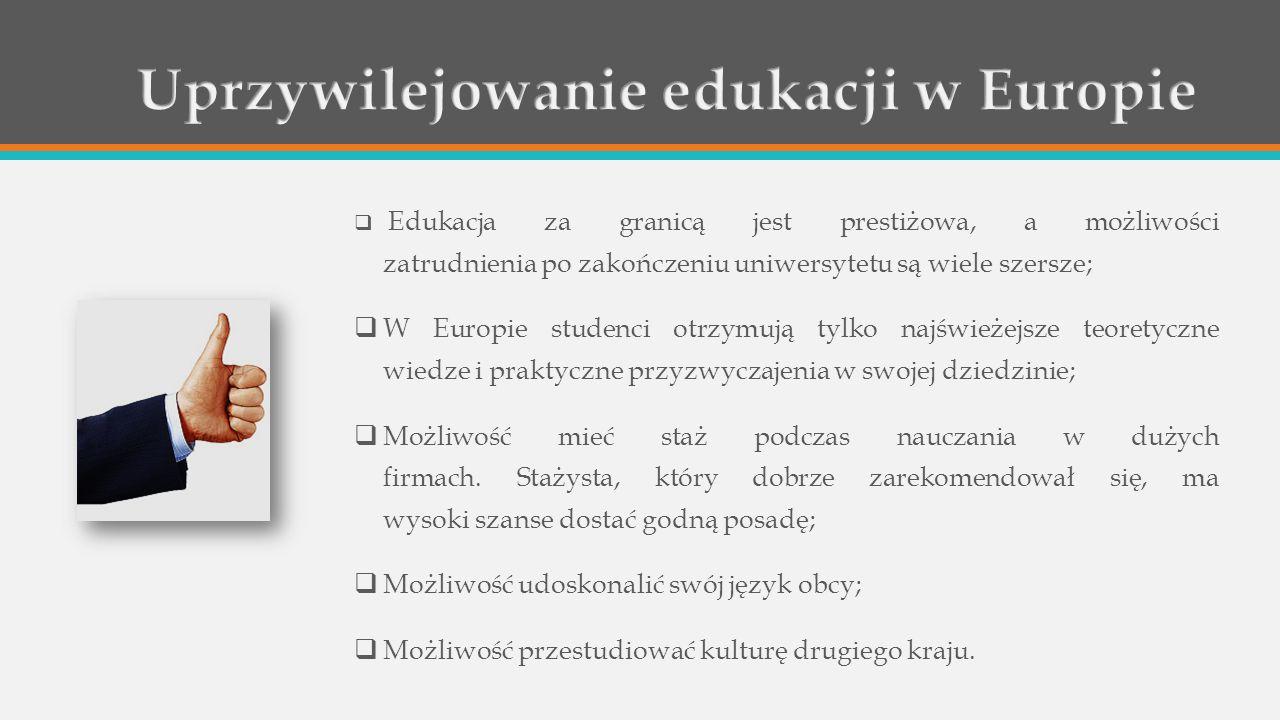  Edukacja za granicą jest prestiżowa, a możliwości zatrudnienia po zakończeniu uniwersytetu są wiele szersze;  W Europie studenci otrzymują tylko najświeżejsze teoretyczne wiedze i praktyczne przyzwyczajenia w swojej dziedzinie;  Możliwość mieć staż podczas nauczania w dużych firmach.