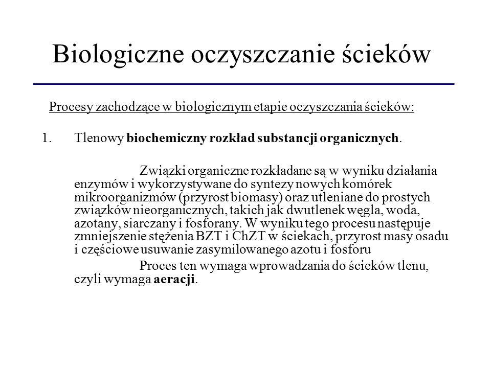 Biologiczne oczyszczanie ścieków 1.Tlenowy biochemiczny rozkład substancji organicznych. Związki organiczne rozkładane są w wyniku działania enzymów i