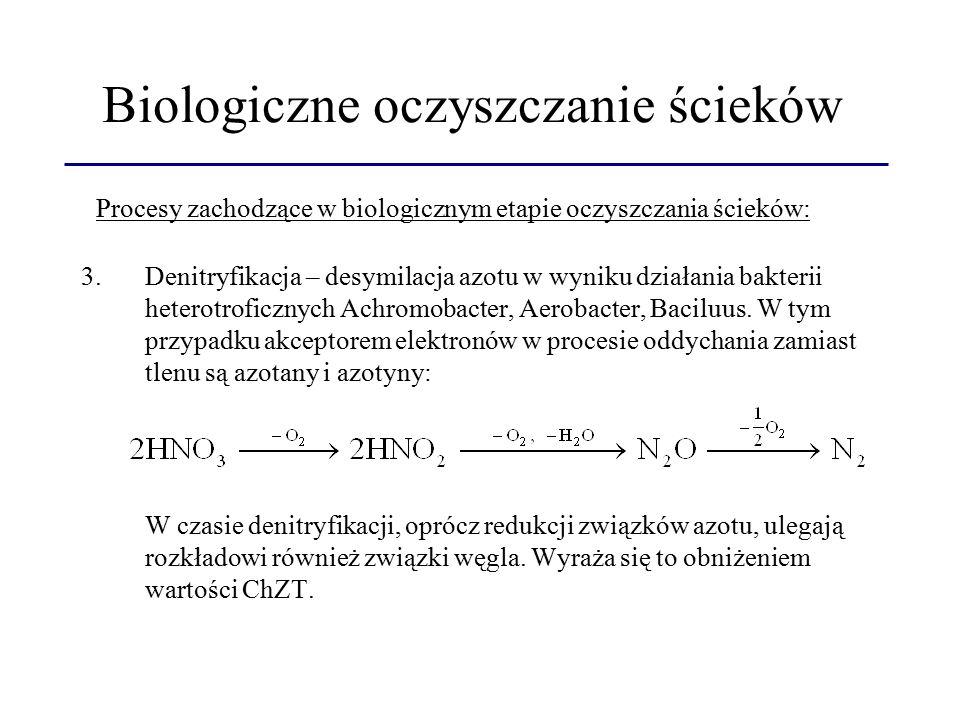 Biologiczne oczyszczanie ścieków 3.Denitryfikacja – desymilacja azotu w wyniku działania bakterii heterotroficznych Achromobacter, Aerobacter, Baciluus.