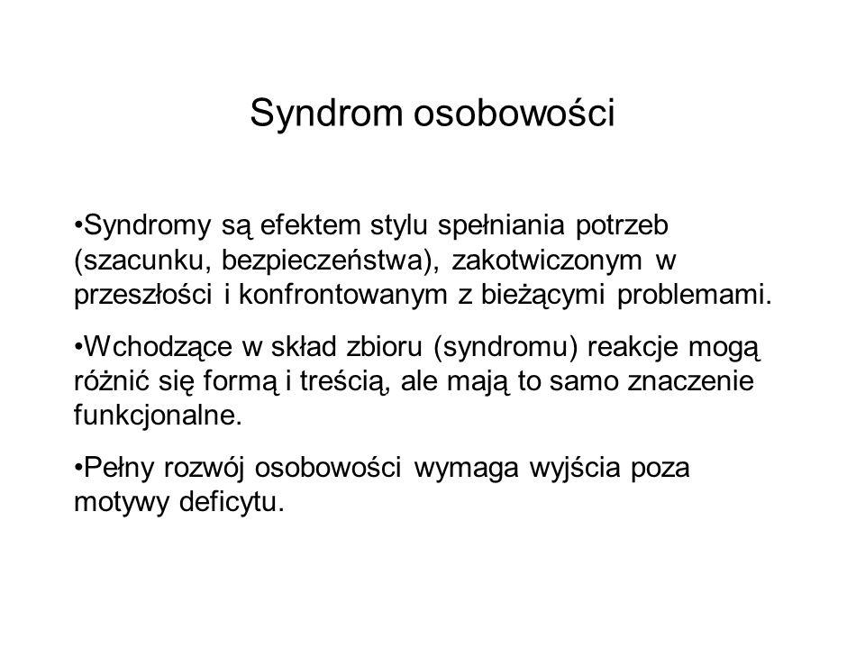 Syndrom osobowości Syndromy są efektem stylu spełniania potrzeb (szacunku, bezpieczeństwa), zakotwiczonym w przeszłości i konfrontowanym z bieżącymi problemami.