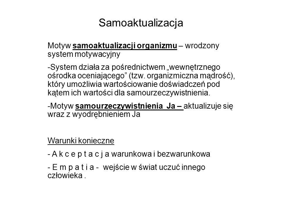 """Samoaktualizacja Motyw samoaktualizacji organizmu – wrodzony system motywacyjny -System działa za pośrednictwem """"wewnętrznego ośrodka oceniającego (tzw."""