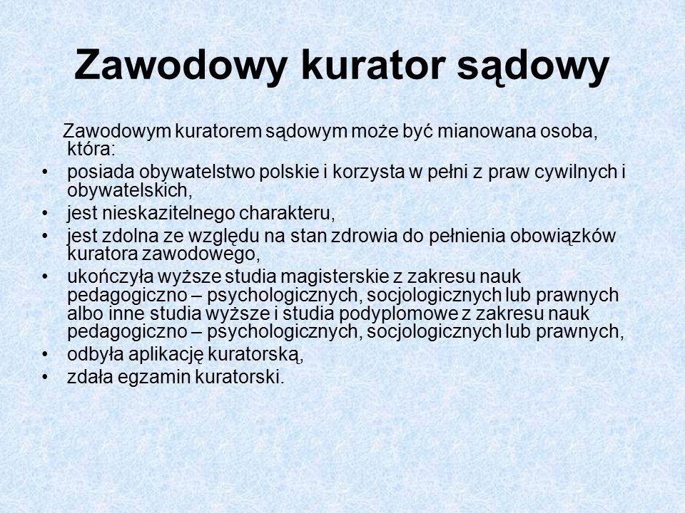 Zawodowy kurator sądowy Zawodowym kuratorem sądowym może być mianowana osoba, która: posiada obywatelstwo polskie i korzysta w pełni z praw cywilnych