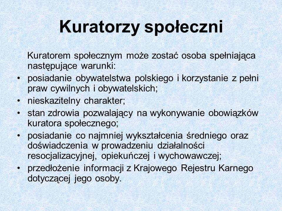 Kuratorzy społeczni Kuratorem społecznym może zostać osoba spełniająca następujące warunki: posiadanie obywatelstwa polskiego i korzystanie z pełni pr
