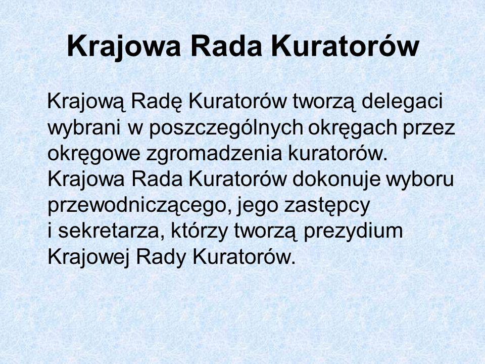 Krajowa Rada Kuratorów Krajową Radę Kuratorów tworzą delegaci wybrani w poszczególnych okręgach przez okręgowe zgromadzenia kuratorów. Krajowa Rada Ku