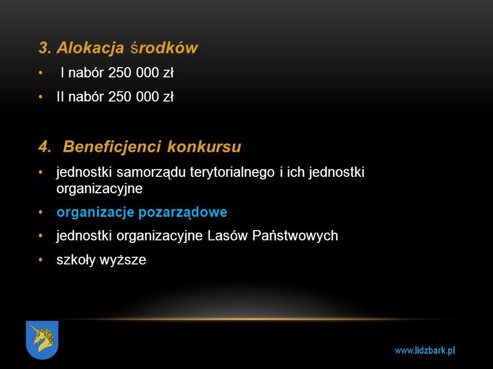 www.lidzbark.pl 3.Alokacja środków I nabór 250 000 zł II nabór 250 000 zł 4.Beneficjenci konkursu jednostki samorządu terytorialnego i ich jednostki o