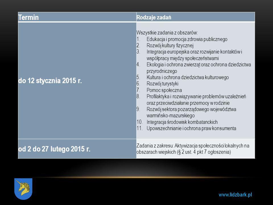 www.lidzbark.pl Termin Rodzaje zadań do 12 stycznia 2015 r. Wszystkie zadania z obszarów: 1.Edukacja i promocja zdrowia publicznego 2.Rozwój kultury f