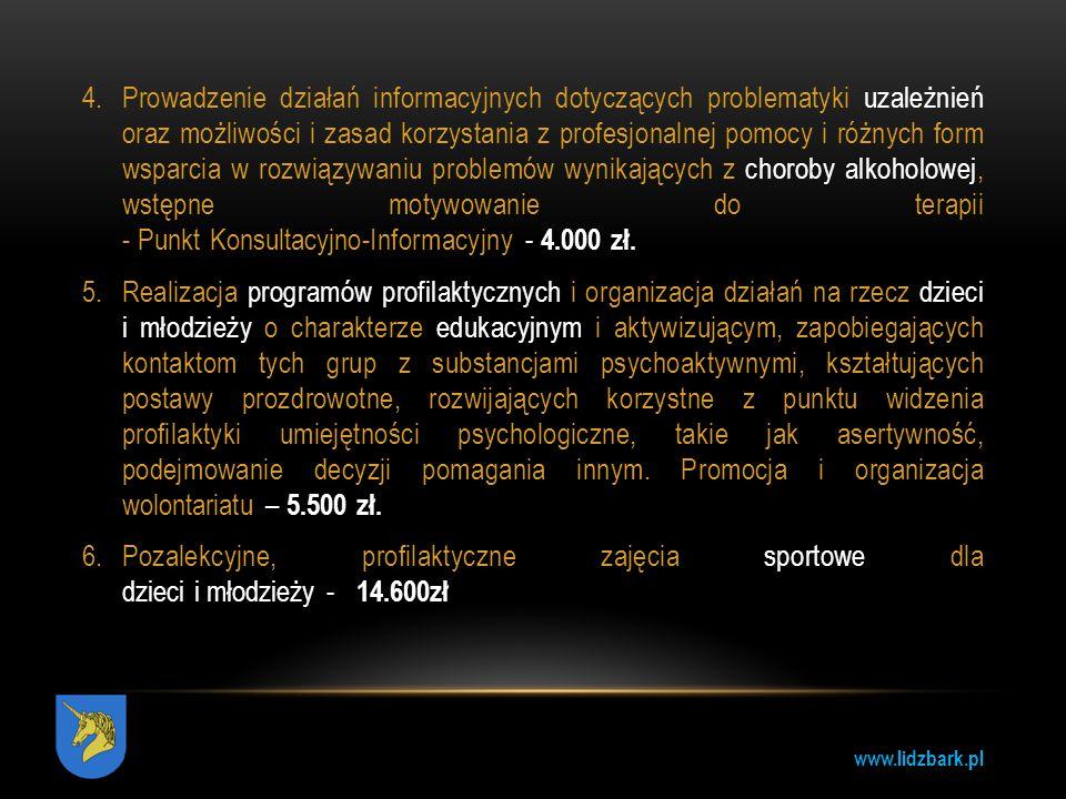 www.lidzbark.pl 3.Beneficjenci konkursu: koła łowieckie zrzeszone w Polskim Związku Łowieckim koła wędkarskie zrzeszone w Polskim Związku Wędkarskim 4.Warunki dofinansowania: W ramach konkursu przewidziane jest dofinansowanie w formie dotacji do 80% kosztów kwalifikowanych, nie więcej niż 3 000 zł.