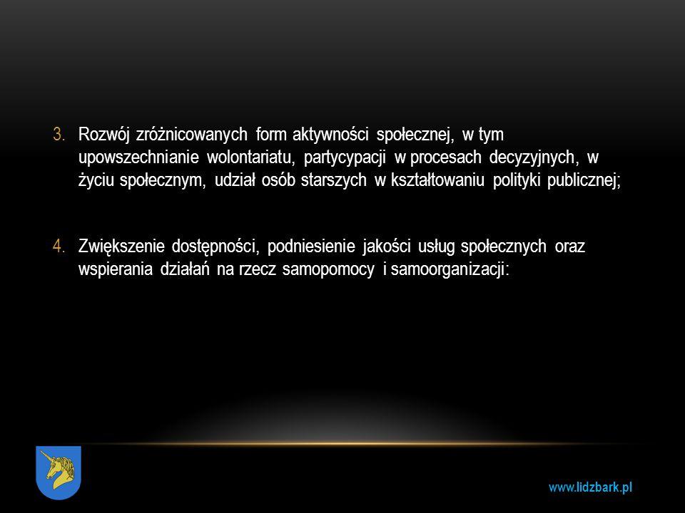 www.lidzbark.pl 3.Rozwój zróżnicowanych form aktywności społecznej, w tym upowszechnianie wolontariatu, partycypacji w procesach decyzyjnych, w życiu