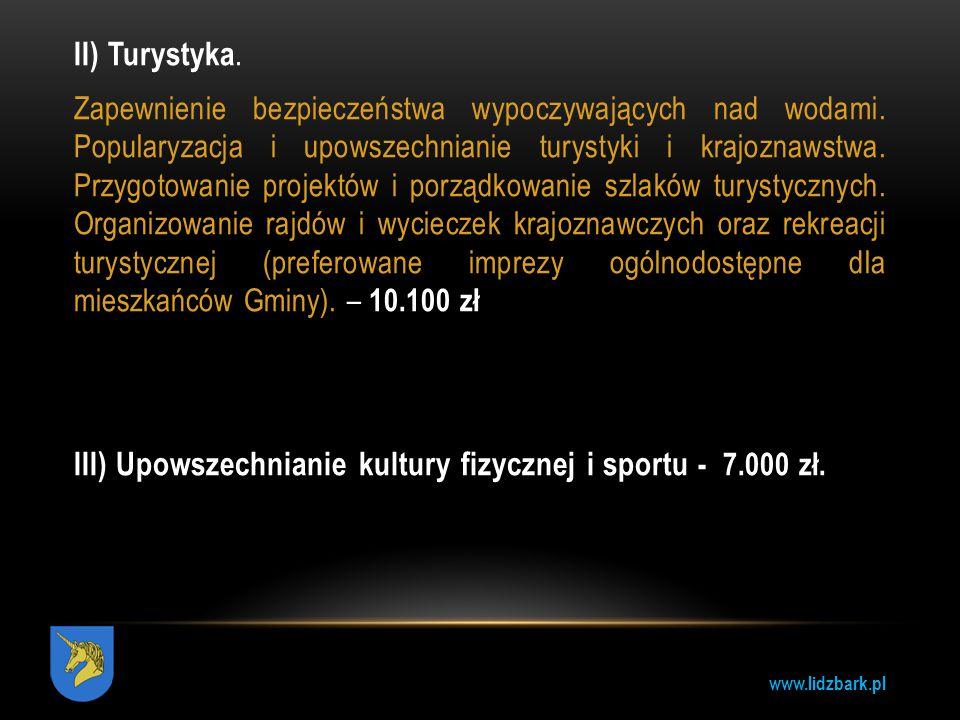 www.lidzbark.pl II) Turystyka. Zapewnienie bezpieczeństwa wypoczywających nad wodami. Popularyzacja i upowszechnianie turystyki i krajoznawstwa. Przyg