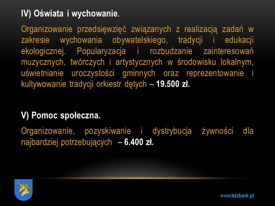 www.lidzbark.pl IV) Oświata i wychowanie. Organizowanie przedsięwzięć związanych z realizacją zadań w zakresie wychowania obywatelskiego, tradycji i e