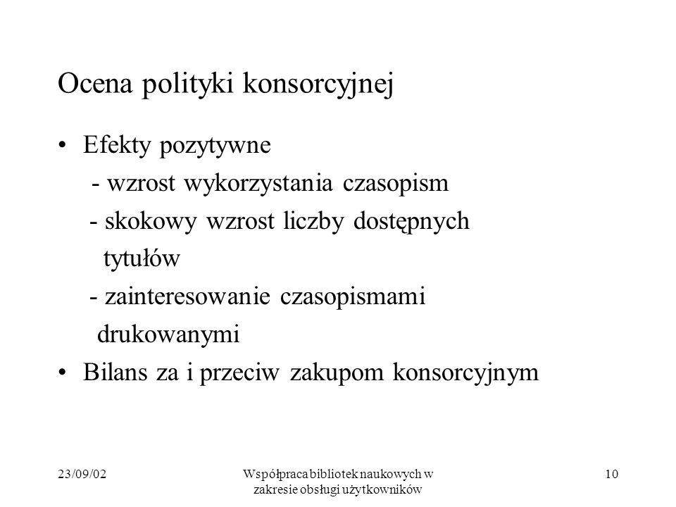23/09/02Współpraca bibliotek naukowych w zakresie obsługi użytkowników 10 Ocena polityki konsorcyjnej Efekty pozytywne - wzrost wykorzystania czasopis